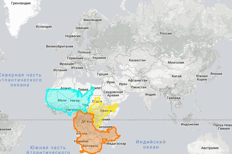 Истинные размеры стран, представленных на плоской карте мира