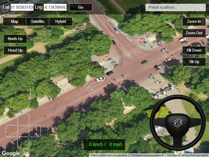Создан симулятор вождения на базе браузера на Google Maps. Можете поездить…